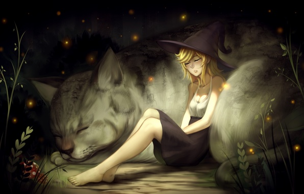 Picture cat, leaves, girl, nature, fireflies, animal, mushrooms, art, witch