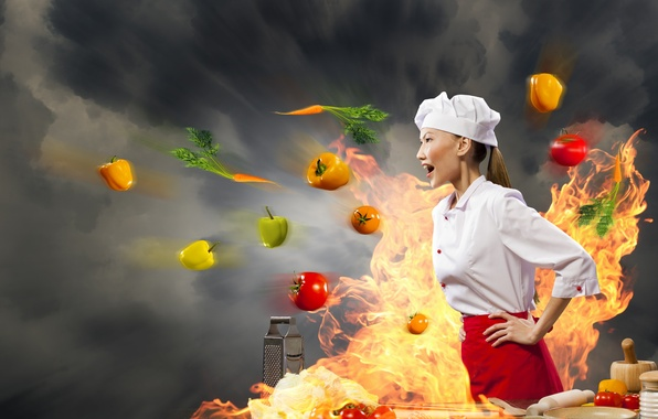 Picture girl, creative, fire, cook, Asian, vegetables, tomatoes, carrots, pepper, grater