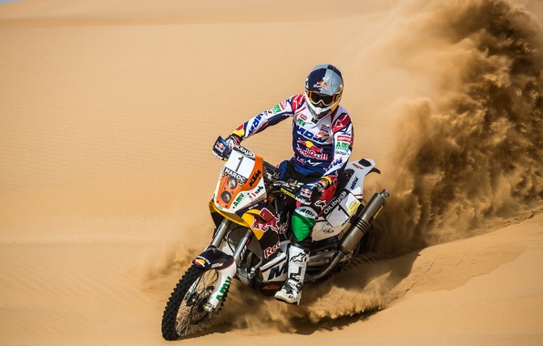 Picture Sand, Motorcycle, Racer, Red Bull, Rally, Dakar, Gas, Equipment