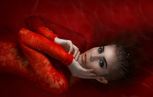 Picture girl, fantasy, in red, water, wildfire, Sea of Fire