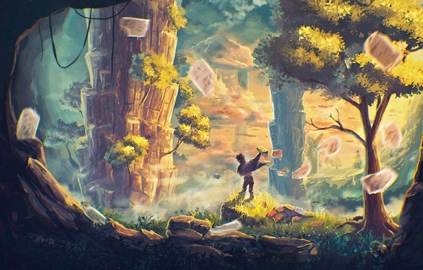 Picture trees, clouds, rocks, the wind, boy, art