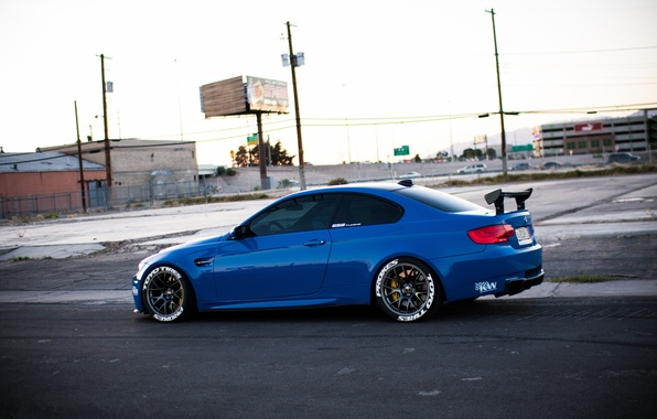 Picture road, blue, street, bmw, BMW, side view, blue, e92, wing