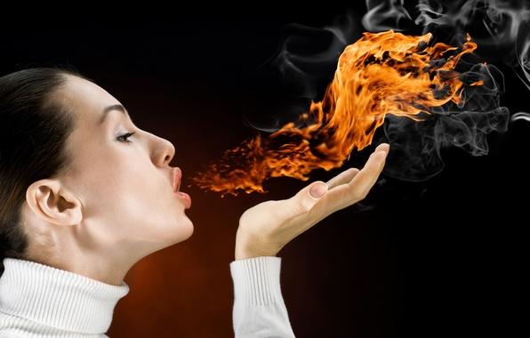 Picture girl, fire, smoke, breath, Flames