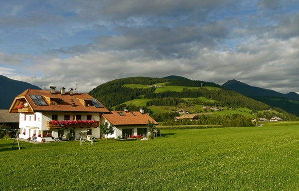 Picture grass, mountains, the city, photo, home, meadow, Italy, Valdaora