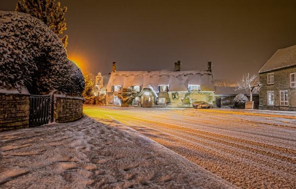Picture winter, snow, night, lights, England, village, United Kingdom, Cambridgeshire, Marholm