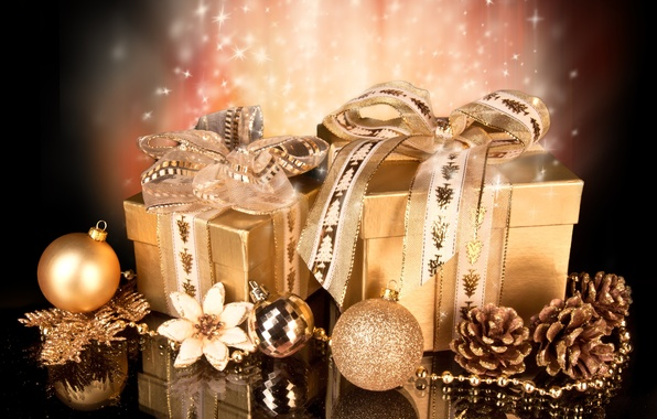 Picture reflection, holiday, gifts, Christmas, bow, ribbons, Christmas decorations, packaging