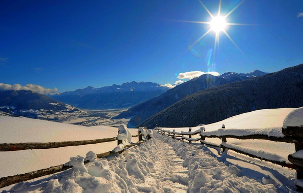 Picture winter, forest, the sky, the sun, snow, landscape, mountains, nature, Park, road, white, forest, road, …