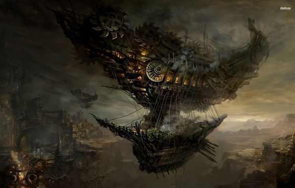 Picture the city, rocks, steampunk, Airbus, dirijabli, flying ship