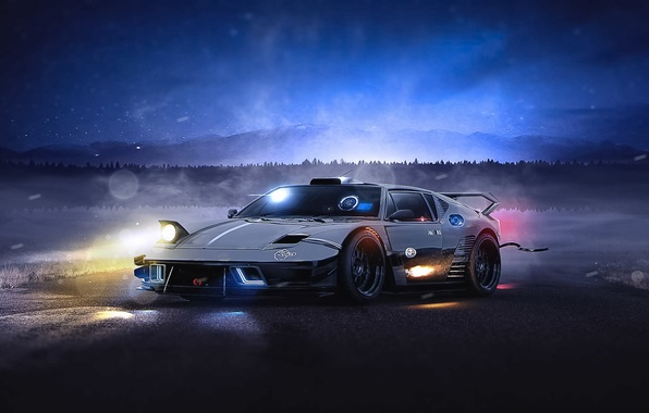 Picture Dark, Car, Front, Night, Old, Future, Supercar, De Tomaso Pantera, Mod