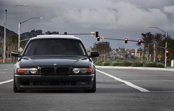 Picture road, lights, before, Boomer, seven, e38, bumer, bmw 740