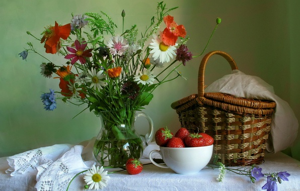 Picture flowers, Mac, bouquet, Daisy, strawberry, pitcher, still life, basket
