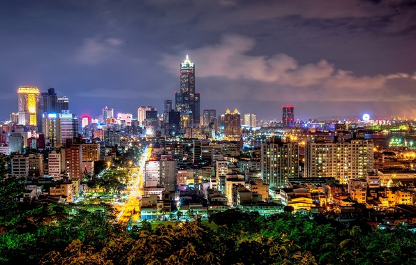 Picture road, night, the city, lights, building, home, skyscrapers, backlight, Taiwan, Taiwan, China, The Republic Of …