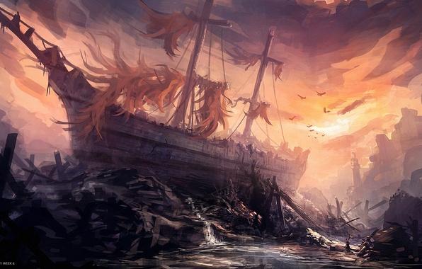 Picture the wreckage, birds, ship, art