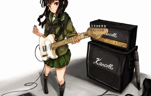 Picture girl, guitar, anime, art, form, schoolgirl, tool, kantai collection, maki pei, kitakami