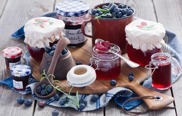 Picture berries, blueberries, jars, spoon, dishes, Board, banks, jam, jam, Anna Verdina