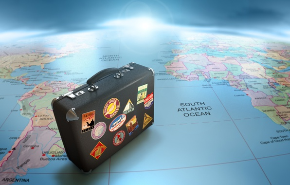 Picture map, suitcase, journey, globe