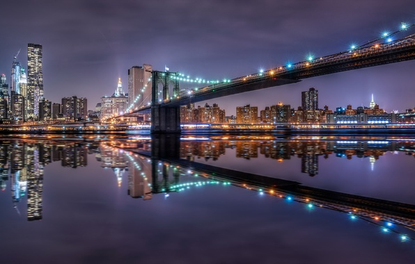 Picture night, the city, Brooklyn Bridge