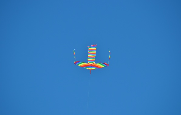 Picture the sky, color, blue, rainbow, kite