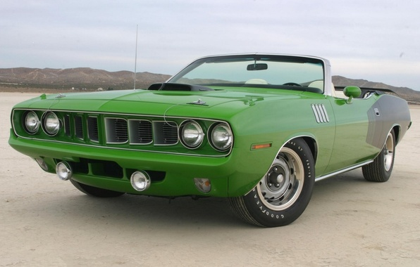 Picture green, 1971, convertible, front view, Plymouth, Plymouth, WHERE, CUDA, hemi, black-green, cabriolet, Khemi