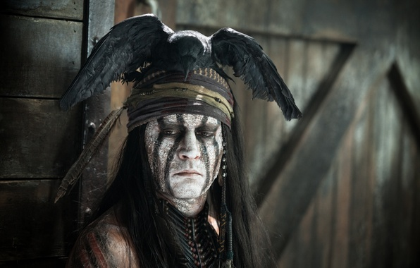 Picture Johnny Depp, man, actor, Johnny Depp, The Lone Ranger, The lone Ranger, Tonto