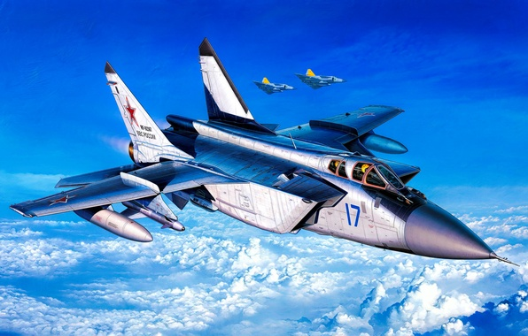 Wallpaper War Art Painting Jet Mig 31 Foxhound Images For