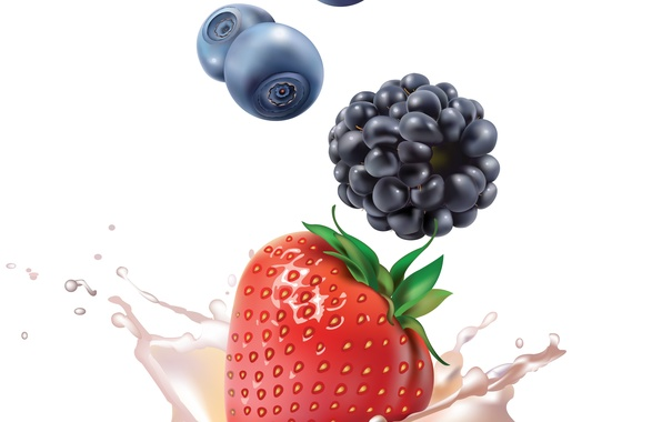 Picture squirt, berries, milk