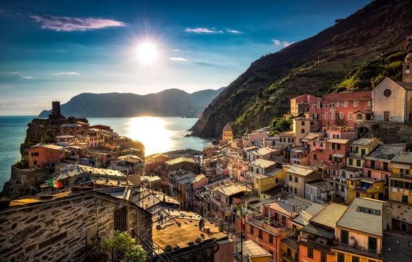 Picture sea, coast, building, Italy, Italy, The Ligurian sea, Vernazza, Vernazza, Cinque Terre, Cinque Terre, Liguria, ...