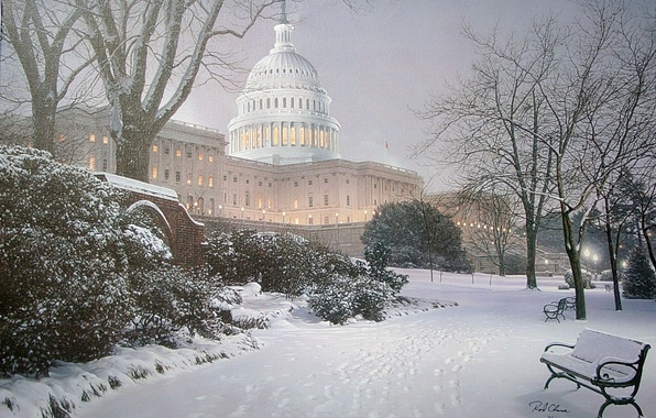 Picture winter, light, snow, Park, lighting, hill, lights, Washington, tree, USA, USA, Capitol, painting, bench, park, …