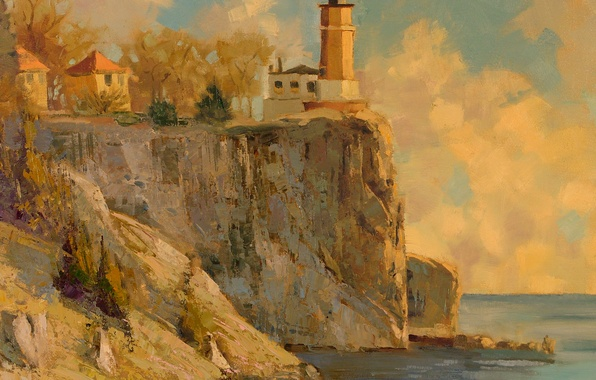 Picture sea, lighthouse, painting, oil painting