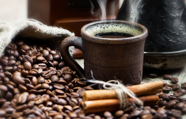 Picture coffee, Cup, drink, cinnamon, grain, smoke, pouch, the pots