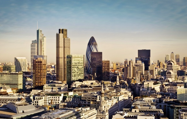 Picture the city, England, London, building, home, skyscrapers, panorama, UK, London, England, Great Britain, skyscrapers, Canary …