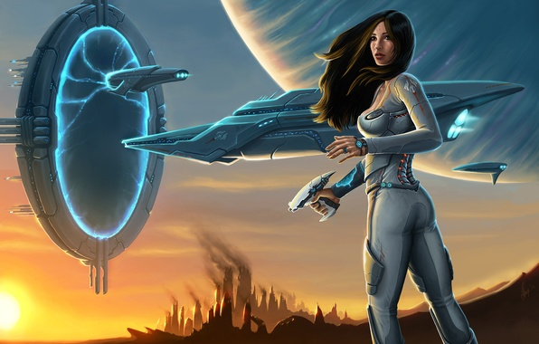 Picture weapons, ship, planet, Girl, the portal, costume