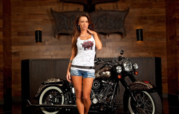 Picture look, girl, shorts, Mike, brunette, motorcycle, HARLEY-DAVIDSON
