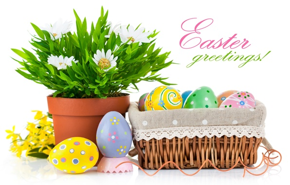 Picture flower, holiday, basket, eggs, Easter, pots