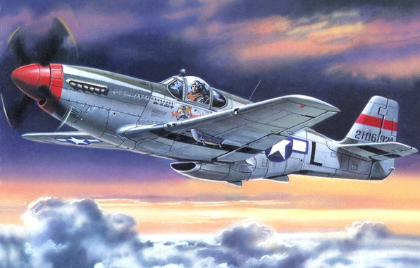 """Picture the sky, clouds, the plane, figure, art, American, WW2, P-51S, """"Mustang"""""""