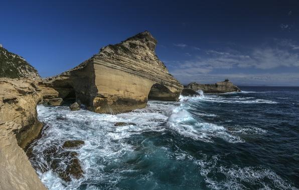 Picture sea, rocks, coast, France, France, Corsica, The Mediterranean sea, Mediterranean Sea, Corsica, Cape Pertusato, Capu …
