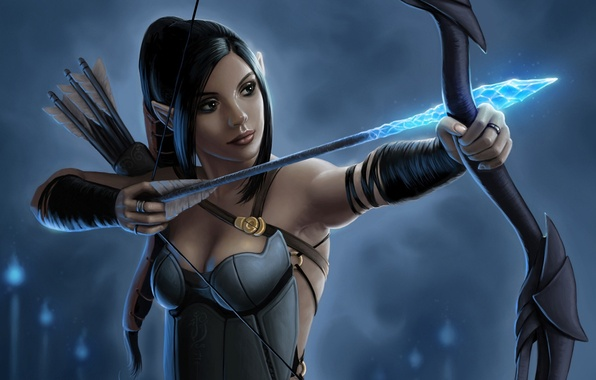 Picture girl, bow, Archer, art, arrow, elf, fantasy