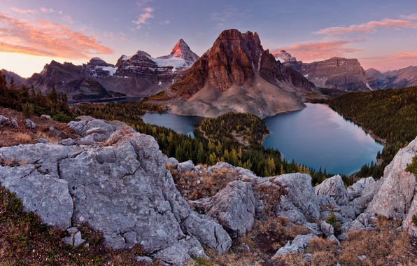 Picture forest, the sky, mountains, stones, lake, Canada, Alps, Sunburst peak, Winnipeg, Mt Assiniboine Park