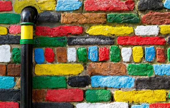 Picture wall, pipe, bricks, colorful