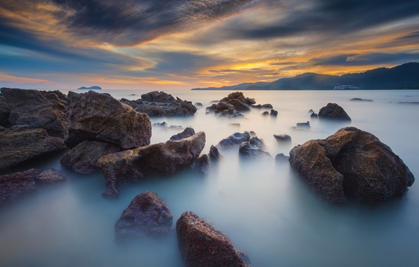 Picture sea, the sky, clouds, stones, rocks, the evening