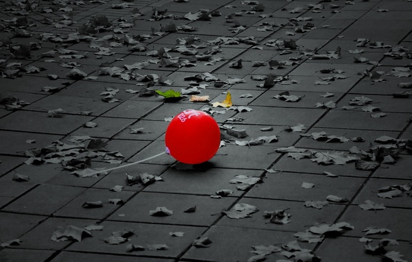 Picture leaves, street, ball