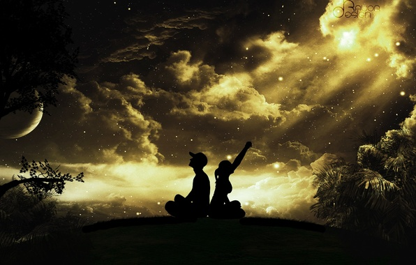 Picture the sky, girl, stars, clouds, trees, night, the moon, cap, guy, silhouettes