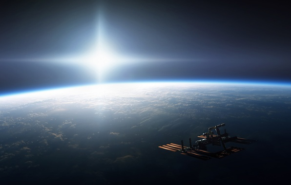 Picture the sun, light, planet, ISS, Space, Earth, brightness, the international space station