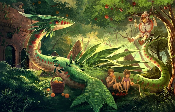 Picture trees, joy, nature, children, dragon, anime, art, fruit, eikura, matti