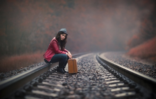 Picture girl, the way, rails, suitcase, waiting