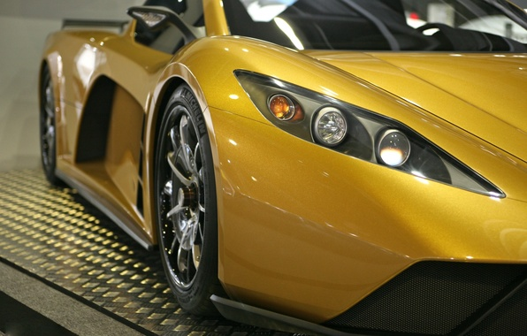 Picture road, yellow, track, headlight, supercar, 2012, United States, Hybrid, Supercar, Motion, Kepler, Kepler, Motion