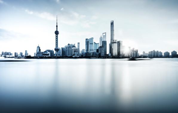 Wallpaper river, China, Shanghai, Oriental Pearl Tower, Shanghai Tower, Shanghai World Financial Center, the Huangpu river