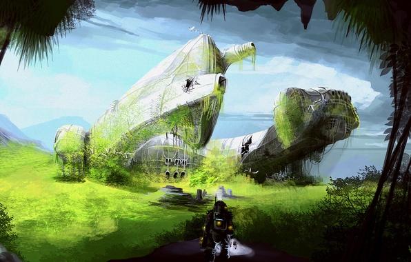 Picture greens, landscape, people, ship, the suit, the skeleton, art, Prometheus, highdarktemplar