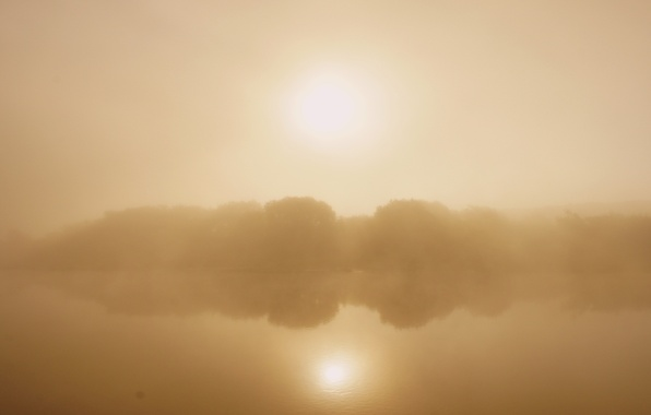Picture light, fog, reflection, river, dawn, Nature, morning, Russia, Oka