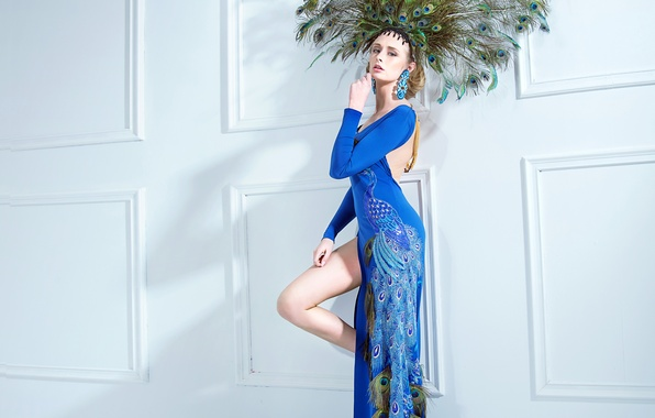 Picture girl, decoration, pose, feathers, makeup, figure, dress, hairstyle, peacock, blue